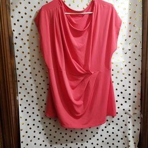 Coral sleeved less shirt